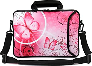 RICHEN 9.7 10 10.1 10.2 inches Messenger Bag Carring Case Sleeve with Handle Accessory Pocket Fits 7 to 10-Inch Laptops/Notebook/ebooks/Kids tablet/Pad (7-10.2 inch, Pink Butterfly)