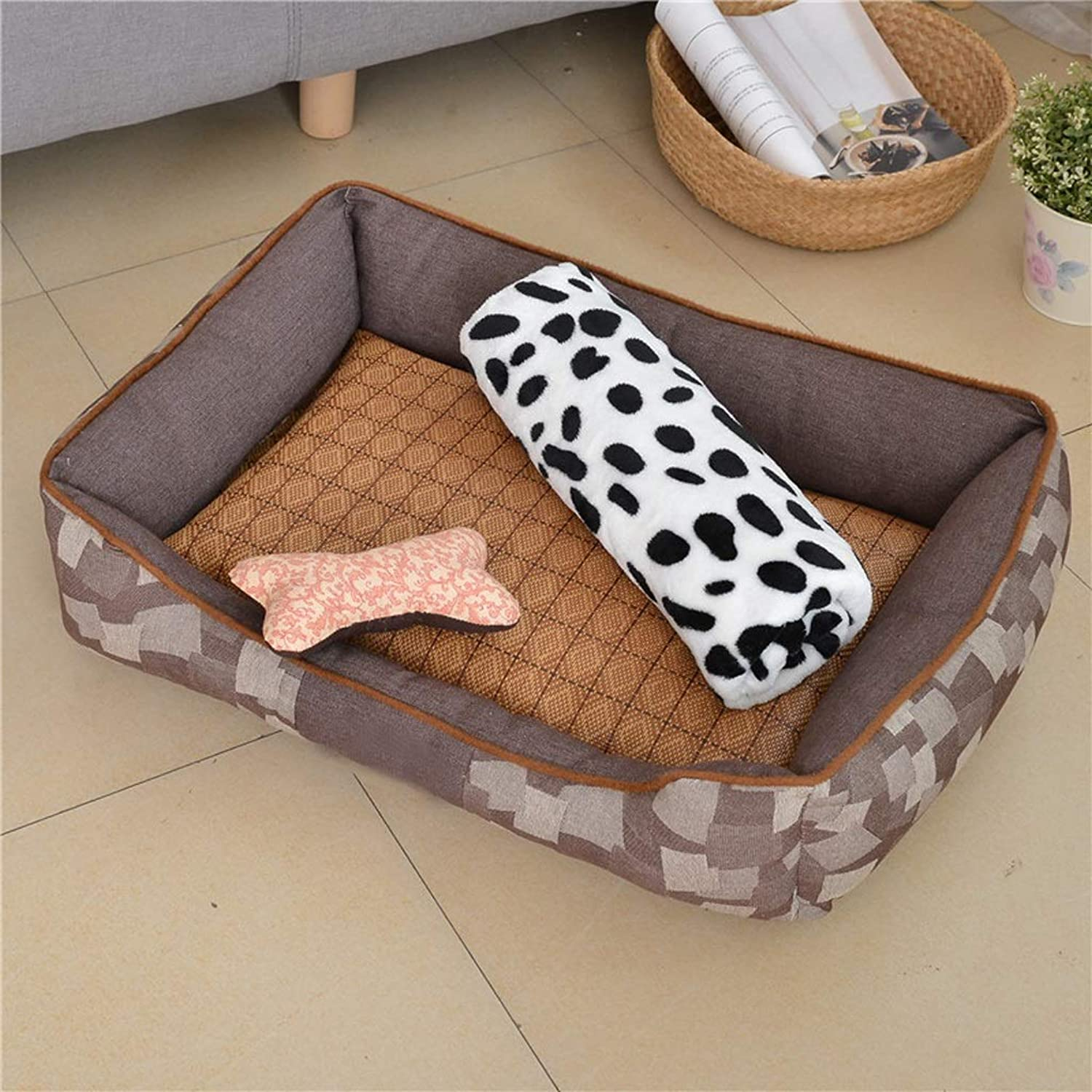 66ccwwww Pet bed Kennel, washable autumn and winter Teddy pet mat dog bed supplies cat litter winter (color   D, Size   L)
