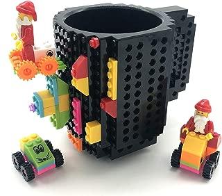 BUTLING Build-On Brick Mug, Creative DIY Building Blocks Coffee Cup, Water Bottle Puzzle Toy Mug, Desk Ornament, Unique Christmas Gift Idea, Compatible with Lego (Black)