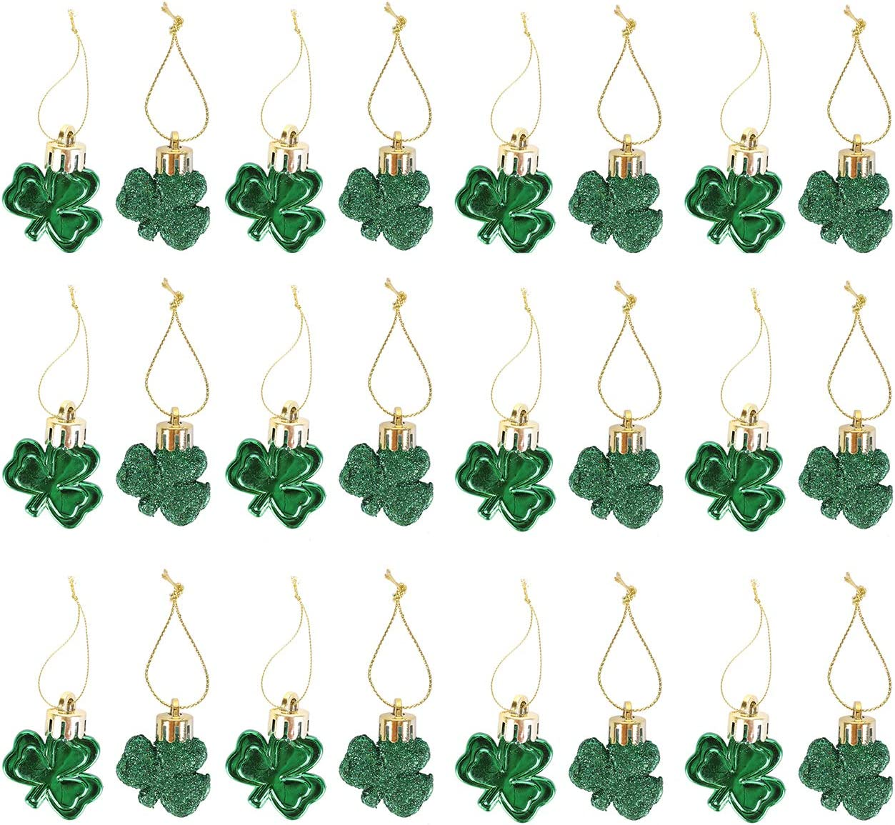 Fashionclubs St Patrick's Day Shamrocks Ornament 24pcs Green Good Luck Clover Hanging Bauble for Tree Table Shelf Home Decoration Irish Day Party Festival Supplies, Glitter and Shatterproof