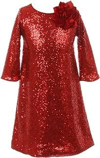 Girls Dress Shiny Sequin Short Sleeve Holiday Christmas Party Flower Girl Dress