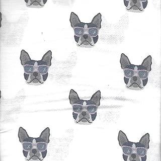London Kaye Cute French Bulldog Faces Wearing Sunglasses 4 Piece Novelty Sheet Set (Queen)