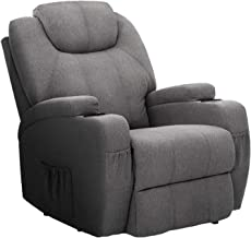 Artiss Fabric Recliner Chair | Electric Massage Heated Lounge Armchair | Grey