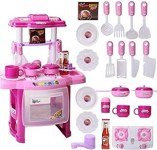 キッチン玩具セット、ABS樹脂、シミュレーションキッチン用品、知育玩具、電子レンジ用サウンド照明