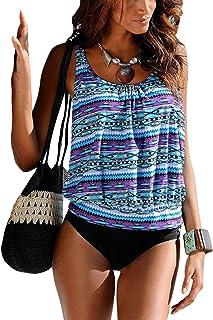 0b2cba26d8 Dokotoo Tankini Femme Push Up Col Rond Maillot de Bain Imprimé Swimwear de  Plage à Motifs