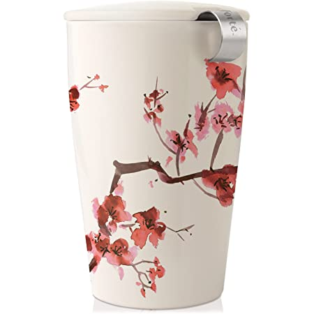 Tea Forte Kati Cup Cherry Blossoms, Ceramic Tea Infuser Cup with Infuser Basket and Lid for Steeping Loose Leaf Tea