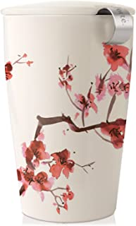 Tea Forte Kati Cup Cherry Blossoms, Ceramic Tea Infuser Cup with Infuser Basket and Lid..
