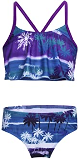MSemis Traje de Baño Dos Piezas para Niñas Bañador Estampado Palmeras Bikinis Hawaiano Tankini Ropa Deportiva de Playa Nat...