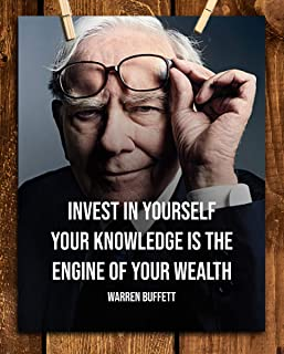 """Warren Buffet Quotes Wall Art- """"Invest In Yourself-Engine of Wealth""""- 8 x 10"""