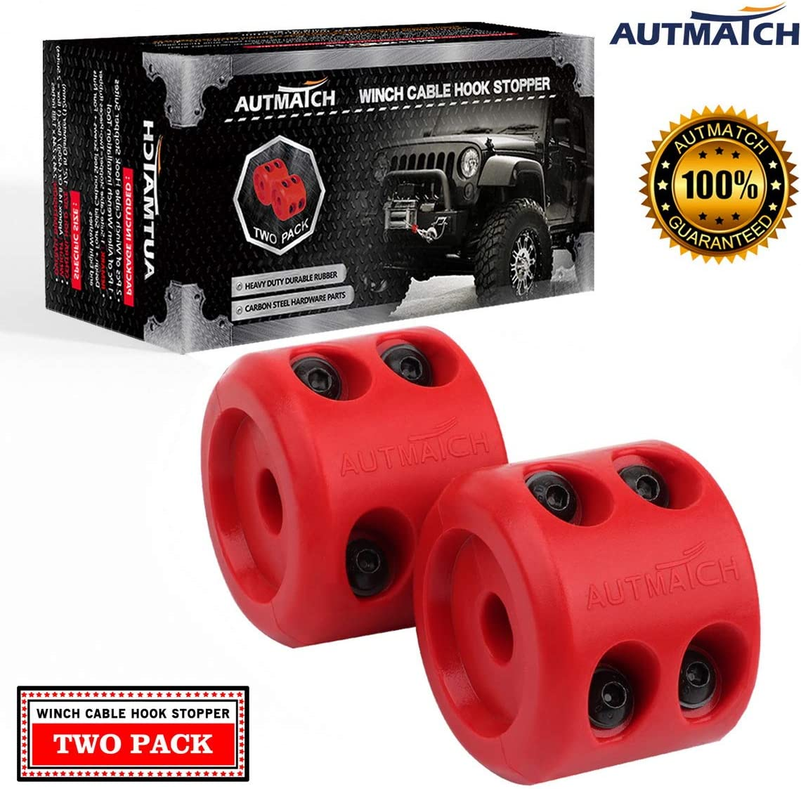 AUTMATCH Winch Cable Hook Trust Large discharge sale Stopper Pack 2 Silicone Shock Rubber