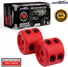 AUTMATCH Winch Cable Hook Stopper (2 Pack) Rubber Shock Absorbent Winch Stopper Best Winch Accessories for Wire & Synthetic Cables ATV Accessories Prevent Pulling Eliminate Abrasion Bouncing Red