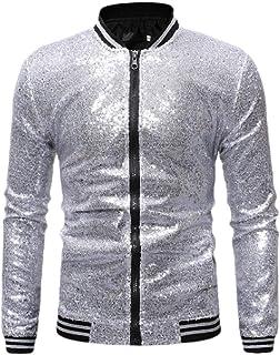 MogogoMen Zip Up Sequin Glitter Moto Biker Jacket Loose Fit Jacket Coat