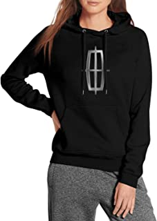 Lincoln-Motor-Company-Cars-Logo- Women's Vintage Pullover Hoodie Sweater Adjustable Black