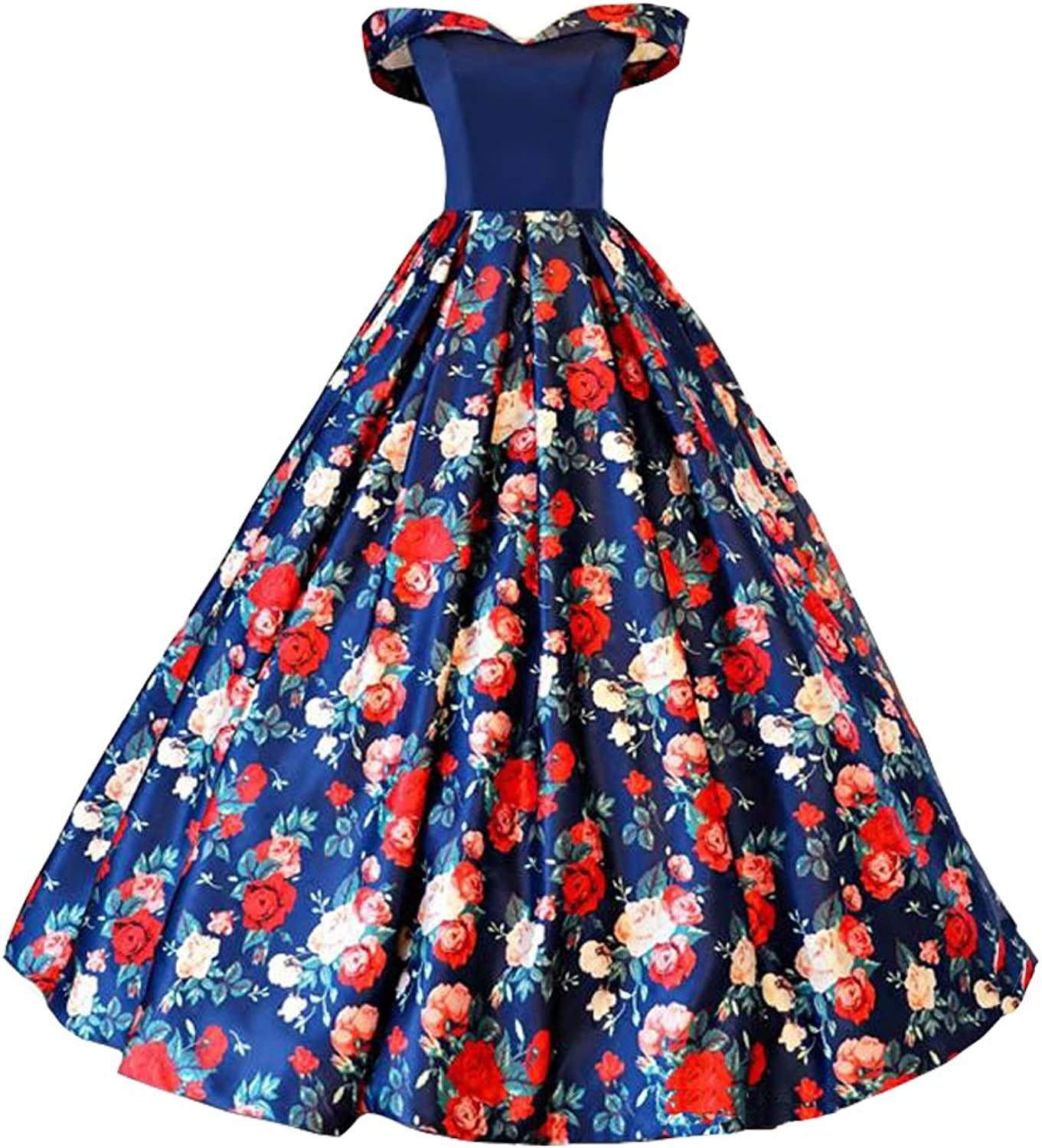 Lemai Women's Off Shoulder Royal bluee Satin Red Floral Print Long Prom Party Dresses
