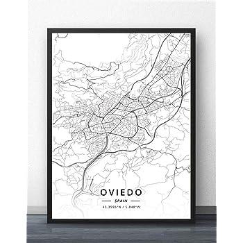 ZWXDMY Impresión De Lienzo,España Oviedo Ciudad Mapa Líneas De Texto Minimalista En Blanco Y Negro Lienzo Abstracto Pintura Mural Poster Sin Cerco Decoración Estudio,60×80Cm.: Amazon.es: Hogar