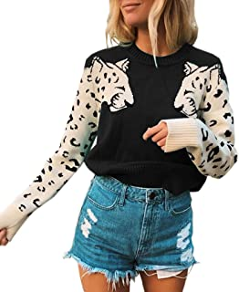 Women's Sweaters Casual Leopard Printed Patchwork Long...