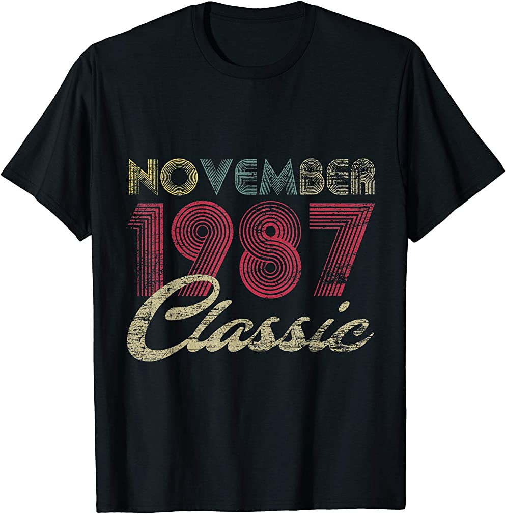 Classic November 1987 Bday Men Women Gifts 33rd Birthday T-shirt