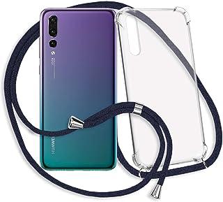 mtb more energy® Collar Smartphone para Huawei P20 Pro (6.1'') - Azul Oscuro - Funda Protectora ponible - Carcasa Anti Shock con Cuerda