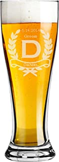 Groomsmen 16 ounce Pilsner Pint Beer Glass with a Wreath Design Custom Engraved including Choices of Titles, Names and Date