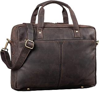 "STILORD Geralt"" Vintage Ledertasche Messenger Bag Aktentasche Umhängetasche Groß 15,6 Zoll Notebooktasche aufsteckbar, Farbe:dunkel - braun"