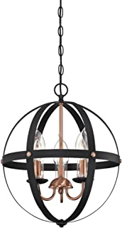 Westinghouse Lighting 6360700 Stella Mira Three-Light Chandelier, Finish Copper Accents and Clear Glass Candle Covers Outdoor Pendant, Matte Black Washed