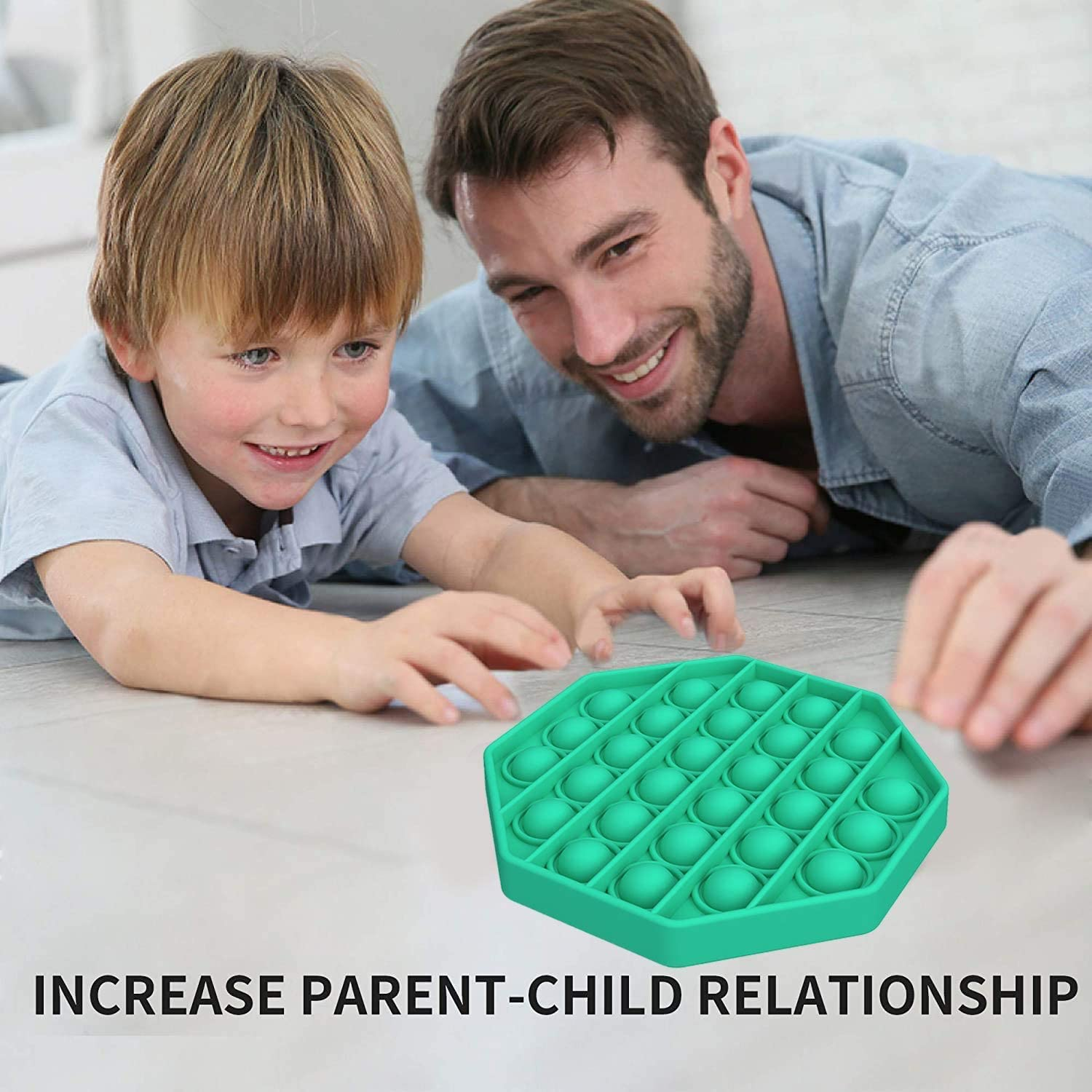 Autism Special Needs Stress Reliever Silicone Stress Reliever Toy Push Bubble Sensory Fidget Toys Squeeze Sensory Toy for Stress Reliever Green, Octagon