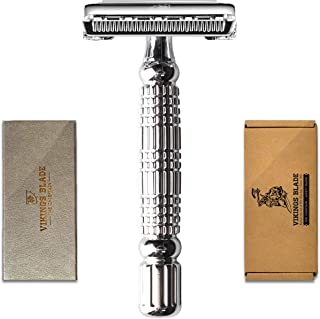 VIKINGS BLADE The Chieftain Double Edge Safety Razor + Swedish Stainless Steel Super Blades + Leatherette Case