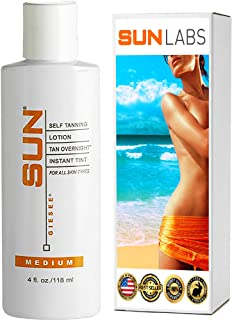 Sun Laboratories Tan Overnight Self Tanning Lotion 4 fl oz.Self Tanner - Natural Sunless Tanning Lotion, Body, Legs and Face for Bronzing and Golden Tan - Medium Sunless Bronzer Flawless Fake Tanning