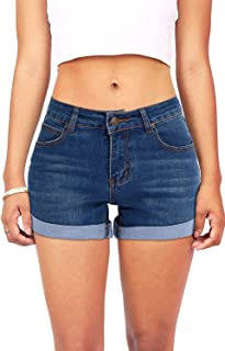 VEAWLL Women's Juniors Summer Mid-Rise Denim Shorts with 5-Pockets Plus Size