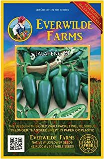 Everwilde Farms - 50 Jalapeno Hot Pepper Seeds - Gold Vault Jumbo Seed Packet