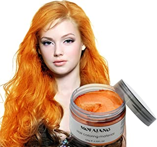 MOFAJANG Unisex Hair Color Dye Wax Styling Cream Mud, Natural Hairstyle Pomade, Temporary Hair Dye Wax for Party, Cosplay & Halloween, 4.23 oz (Orange)
