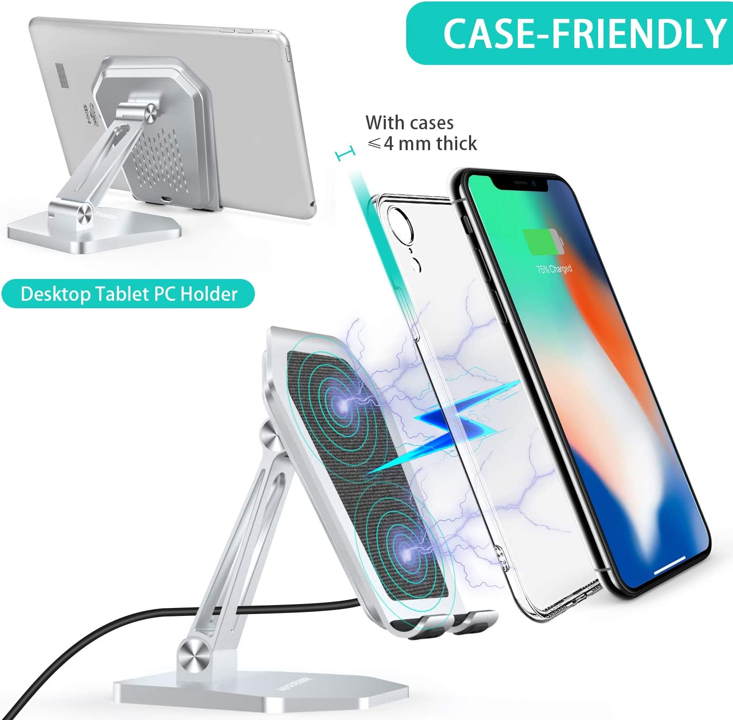 AOGUERBE Wireless Charger Silver No AC Adapter 7.5W//10W//15W Aluminum Alloy Fast Charging Stand Desktop Holder Compatible with iPhone 11//11 Pro Max 15W LG V30//V35//G8,10W Galaxy S20//S10,Pixel 3//4XL