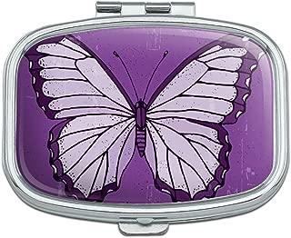 Butterfly Artsy Purple Rectangle Pill Case Trinket Gift Box