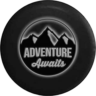 White -Adventure Awaits Glowing Off Road RV Camper Spare Tire Cover Dealer Grade 33 in