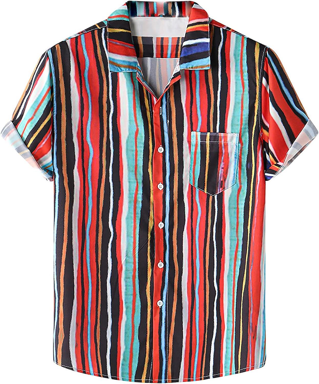 2021 Men's Short Sleeve Printed Hawaiian Print Shirt Casual Button Down Collar Flower Beach Tops Blouse