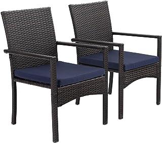 PHIVILLA Juegos de 2 sillas de jardín con cojín Estructura de Acero Silla de ratán para Exteriores para balcón jardín Patio Impermeable a Prueba de óxido
