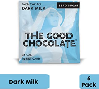 The Good Chocolate Zero Sugar 54% Dark Milk Chocolate Bars, Organic, Keto Friendly, Low Carb, Sugar Free Snacks and Treats, 0.4 Ounce Individually Wrapped Squares (6 Pack)