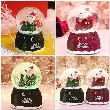 Toyvian 2pcs Merry Christmas Snow Globe with LED Light Xmas Lighted Satan Train Crystal Ball Desktop Ornament for Holiday Chr