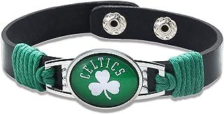 "GameWear Boston Celtics Leather Bracelet with Snap Closure 7"" to 9"""