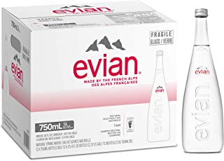 Evian Natural Mineral Water in Glass Bottle - 750 ml (Pack of 12)