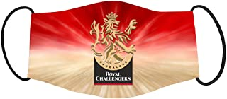 Vista IPL Team Royal Challengers Bangalore Mask -Cotton Reusable Washable Mask Size 20x13 cms with adjustable ear loops