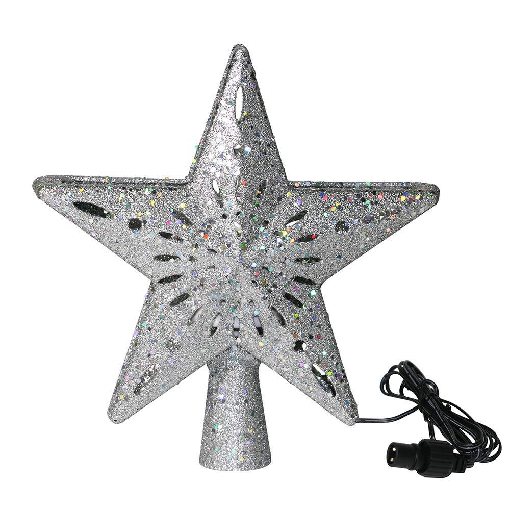 4 DARK PURPLE GLITTER 4 INCH STAR CHRISTMAS ORNAMENTS DECORATION
