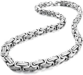 Men's 8mm Wide Stainless Steel Necklace Byzantine Chain Link Biker