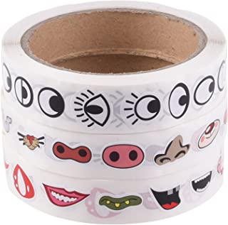Bluecell Colorful Eye Nose Mouth Cartoon Mini Sticker Decal for Party Favor Décor Notebook Sticker Coloring Book-3 rolls/2200pcs