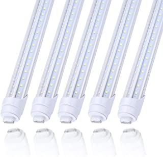 25Pack 8ft R17d V Shaped Double Row led Light Tube Bulb 65W Rotatable HO Base,150W Fluorescent Lamp Replacement Shop Lights, Dual-Ended Power, Cold White 6000K, 7800LM,Clear Cover, AC 85-277V