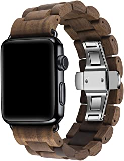 Kinobo Wooden Watch Band Compatible with Apple Watch, 100% Eco-Friendly Natural Hardwood Watch Strap Thickened Wrist Bracelet for iWatch Series 4, 3, 2, 1, Sport, Edition (Walnut-42mm/44mm)