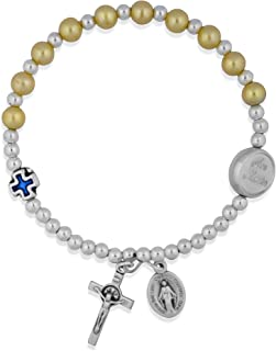 Venerare Spring-Style Rosary Bracelet with Miraculous Medal and Cross Charms