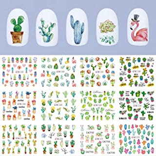 12pcs Nail Stickers Nails Art Water Decals Sliders Cactus Summer Green Succulents Designs Decorations Accessories