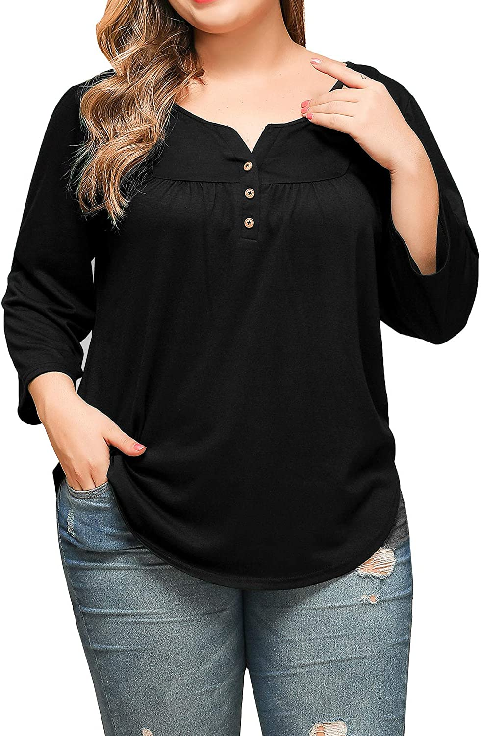 JIOTANG XL-4X Plus Size Top for Women Summer Henley V Neck Short Sleeve Buttons Up Pleated Tunic Tops