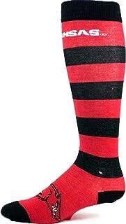 NCAA Arkansas Razorbacks Adult Long Horizontal Stripe M1538R Socks Burgundy and Black